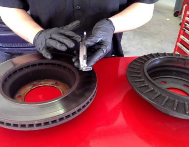 two brake rotors and a brake pad