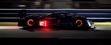 glowing brake pads on a race car