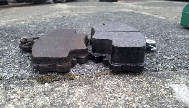 old new brake pads
