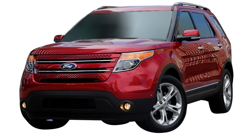 Red Ford Explorer front view