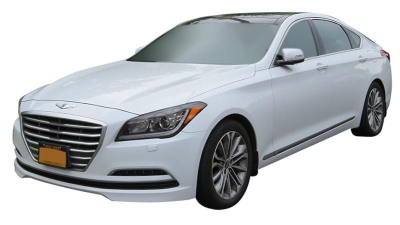 White Hyundai Genesis front quarter