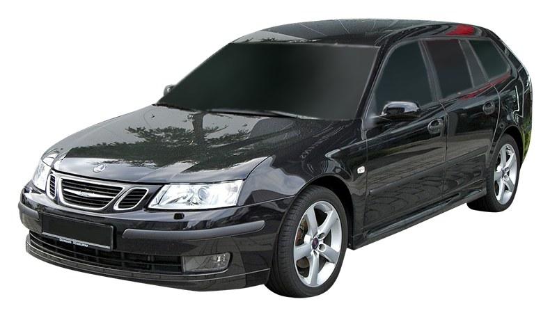 Black SAAB wagon front view