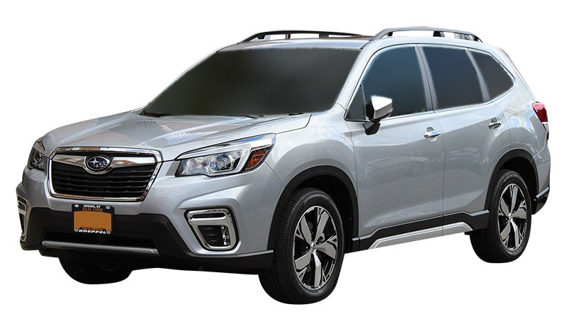 Silver Subaru Forester front view