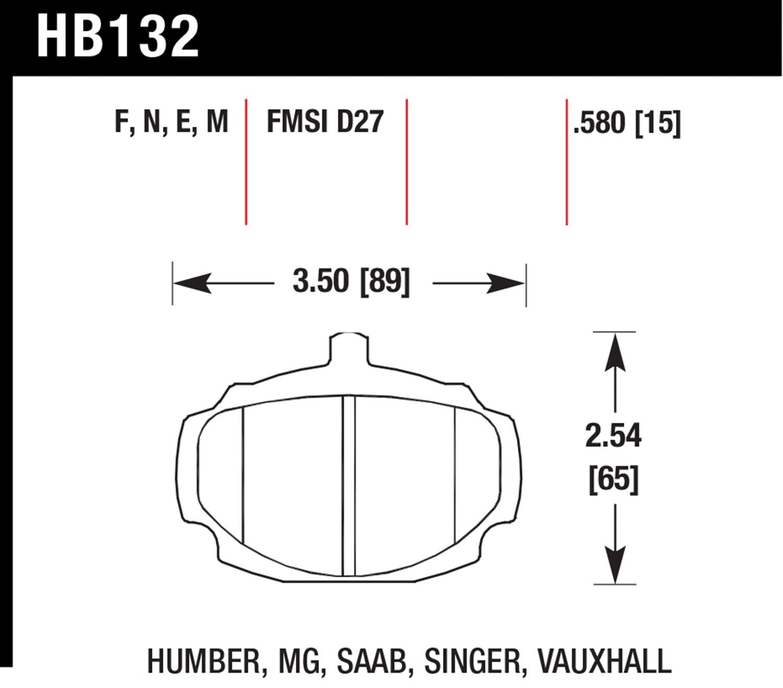 Hawk Black Brake Pads Front For HB132M.580 MG MGB