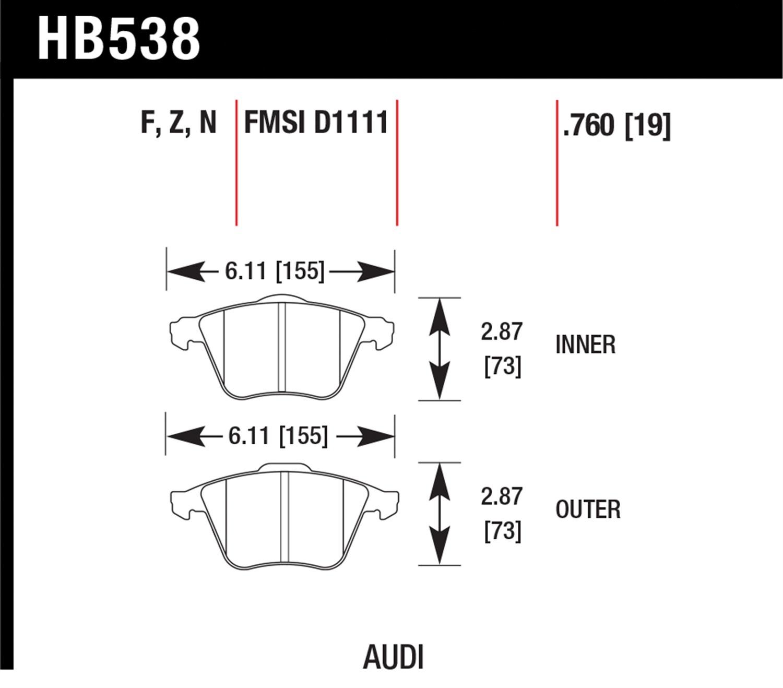 Hawk Performance HB158B.515 HPS 5.0 Disc Brake Pad