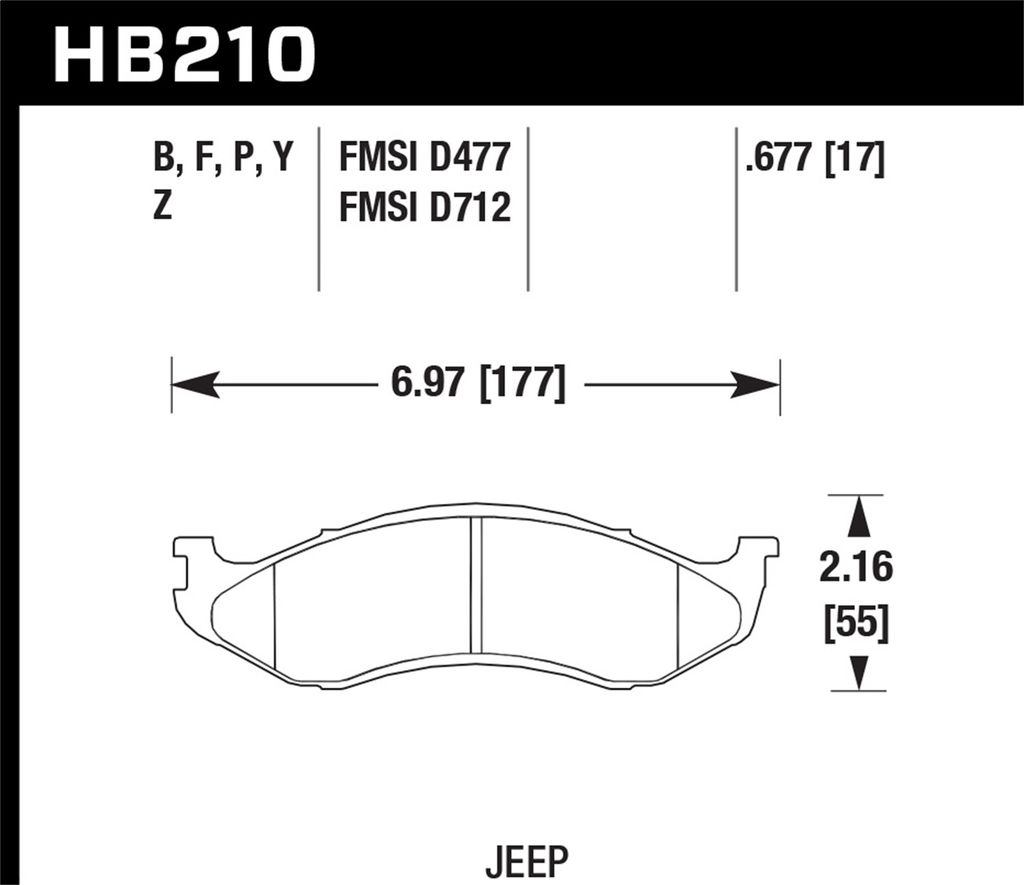 Hawk Performance HB210P.677 - Super Duty Truck Brake Pads, 2 Wheel Set