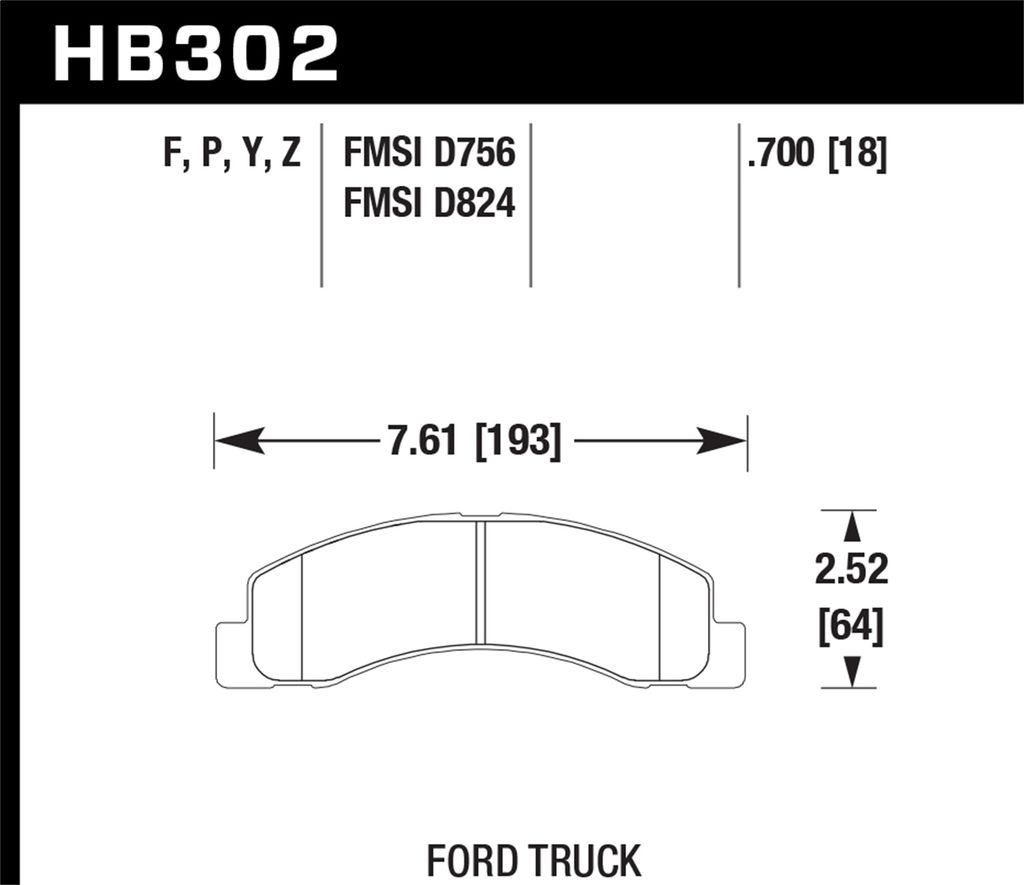 Hawk Performance HB302P.700 - Super Duty Truck Brake Pads, 2 Wheel Set