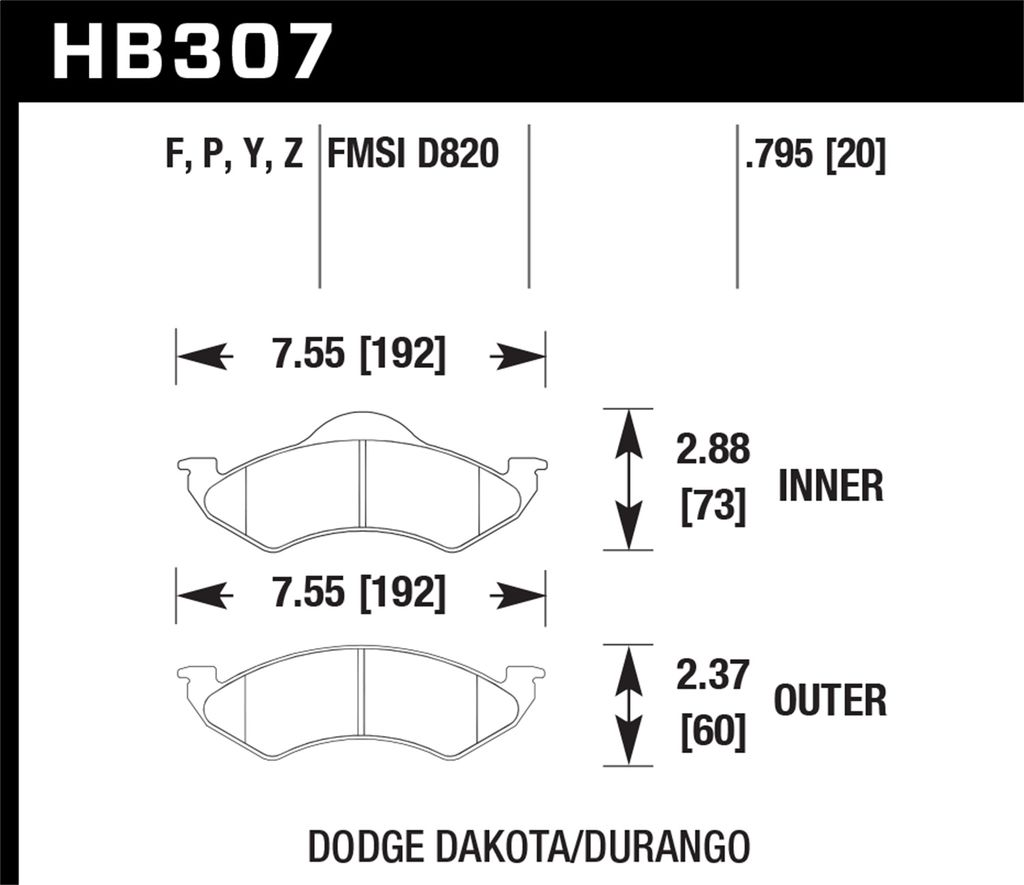 Hawk Performance HB307P.795 - Super Duty Truck Brake Pads, 2 Wheel Set