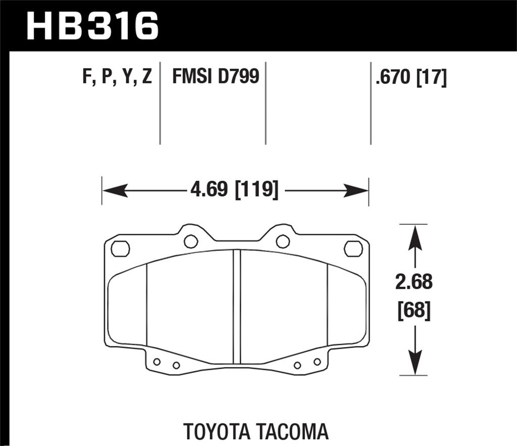 Hawk Performance HB316P.670 - Super Duty Truck Brake Pads, 2 Wheel Set