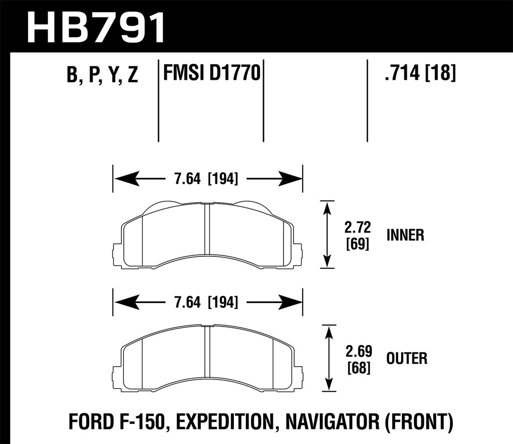 Hawk Performance HB791P.714 - Super Duty Truck Brake Pads, 2 Wheel Set